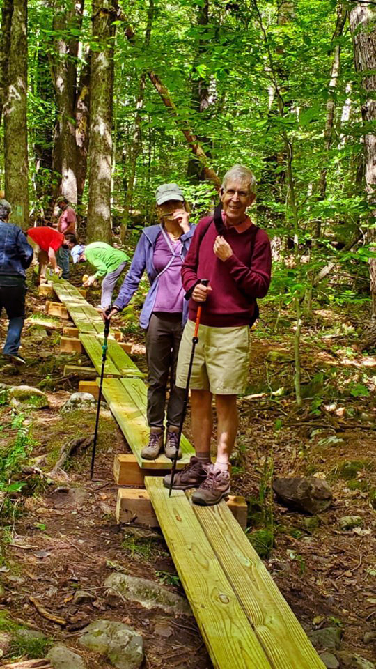 Alan and Morven Dimond of Old Lyme were the first hikers across the new bog bridge.
